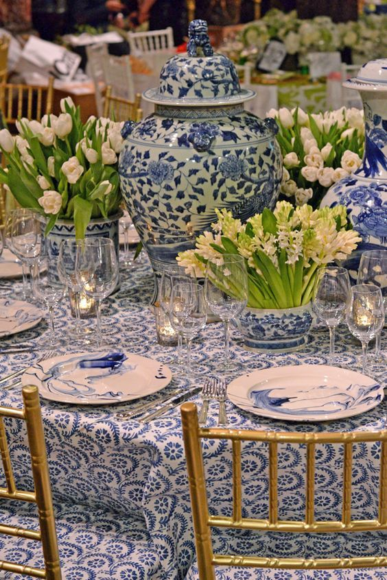 Blue and White Table - Table setting at the 2015 Lenox Hill Neighborhood House…