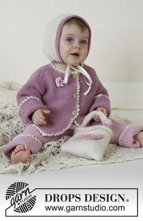 Little Lisa / DROPS Baby 13-6 - DROPS Vestje, broekje, muts, tas en dekentje van Alpaca