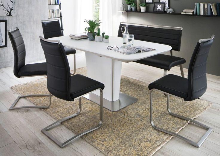 Tischgruppe Ubora 2 Tisch Weiß mit Sitzbank + 4 Stühlen Schwarz 22454. Buy now at https://www.moebel-wohnbar.de/tischgruppe-ubora-2-tisch-weiss-mit-sitzbank-4-stuehlen-schwarz-22454
