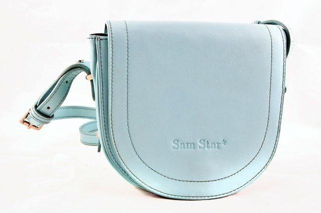 Pastel Blue Leather Sling Bag