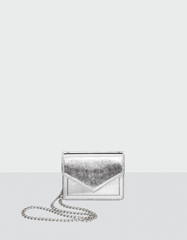 Mini silver evening crossbody bag - Kabelky - Doplňky - Ženy - PULL&BEAR Czech Republic