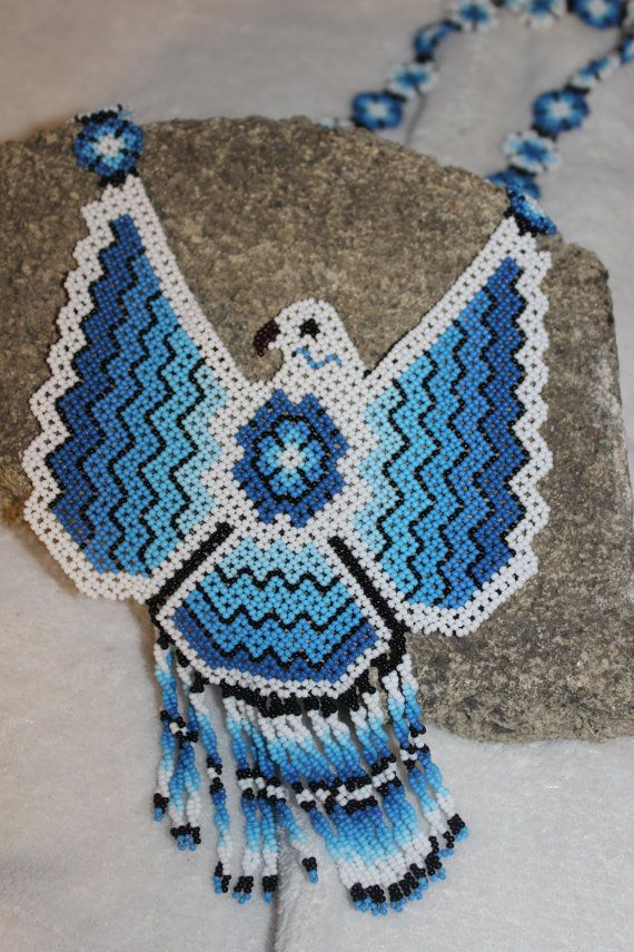 Huichol Eagle Beaded Necklace MM by HuicholArte on Etsy
