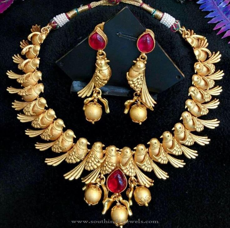 Gold Plated Designer Peacock Necklace, Gold Plated Necklace Designs.