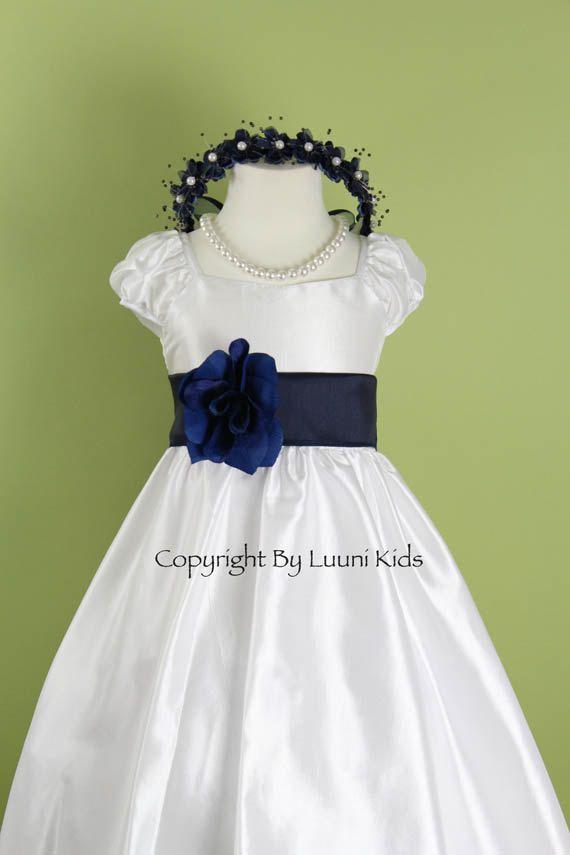Flower Girl Dress WHITE Cap Sleeve Dress with Blue by LuuniKids, $29.99