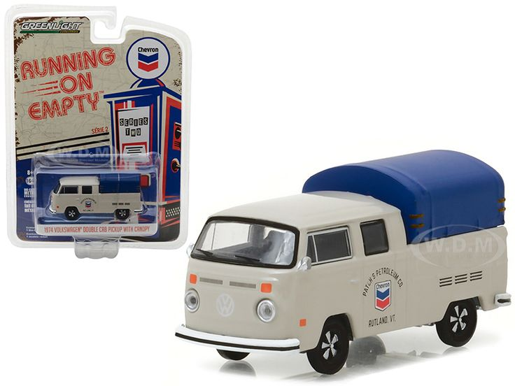 diecastmodelswholesale - 1974 Volkswagen T2 Double Cab Pickup with Canopy Chevron 1/64 Diecast Model Car by Greenlight, $5.99 (https://www.diecastmodelswholesale.com/1974-volkswagen-t2-double-cab-pickup-with-canopy-chevron-1-64-diecast-model-car-by-greenlight/)