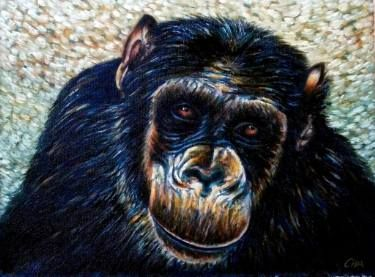"Saatchi Art Artist Dan Civa; Painting, ""Chimpanzee portrait (chimp 11)"" #art"