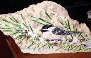 Chickadee I painted on Tyndall Stone
