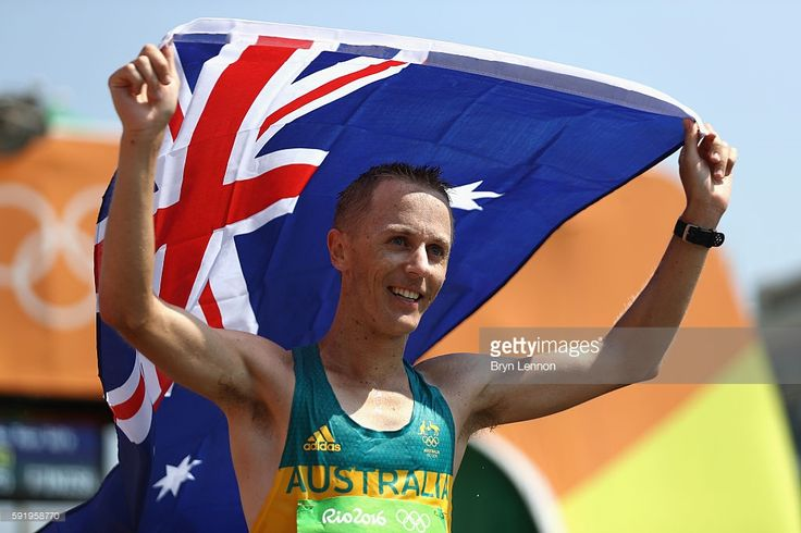 Jared Tallent of Australia reacts after winning the silver medal in the Men's…
