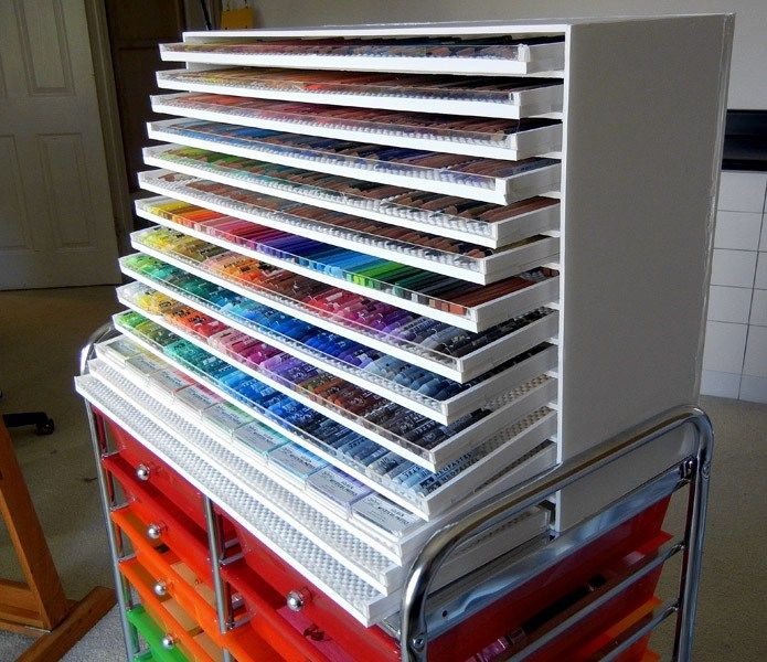 DIY Colored Pencil Cabinet: Have you ever seen those massive sets of drawers big Faber-Castell sets come in? This is the DIY version, which can hold as many pencils (or pens, markers, or pastels) as you need!