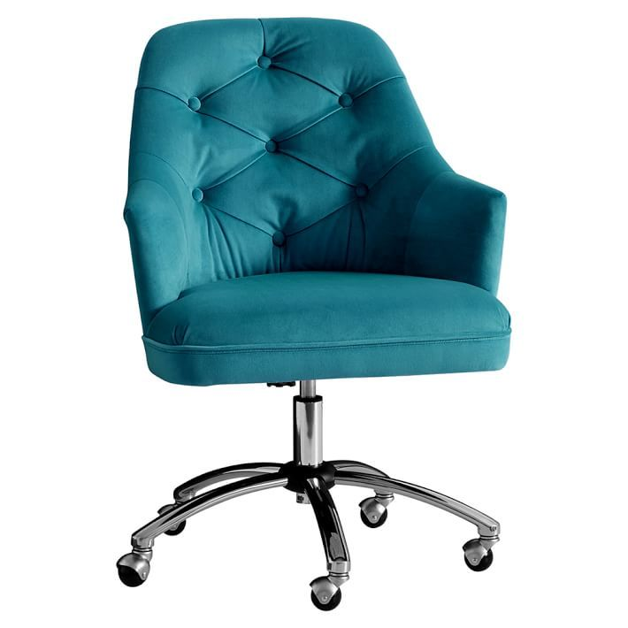 Peacock Velvet Tufted Desk Chair from everything turquoise.com