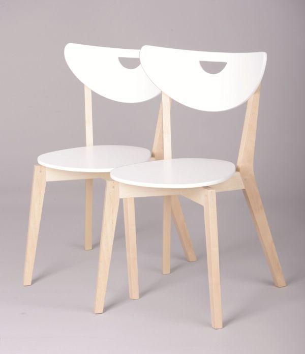 Sedie cucina legno massello betulla colore bianco (set da 2 pezzi)