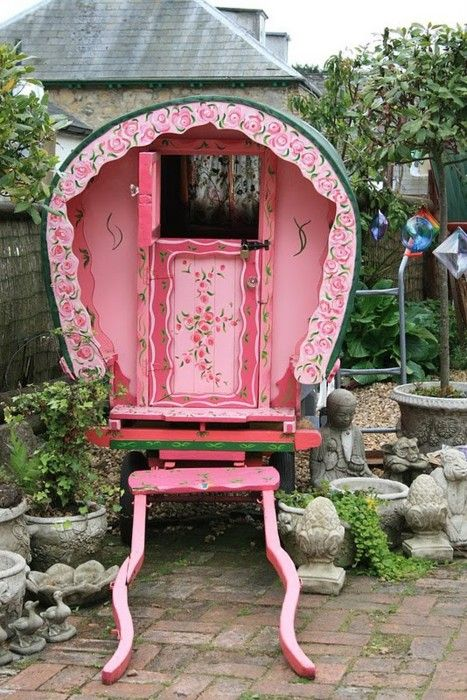 Pink gypsy caravan...love: Little Girls, Plays House, Gypsy Caravan, Shabby Chic, Gypsy Wagon, Pink Gypsy, Pink Doors, Gardens Sheds, Playhouse