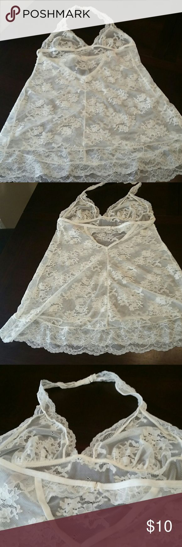 VS lace baby doll nighty in Ivory Pretty little Ivory, halter,  lace, open back, sheer, baby doll Victoria's Secret Intimates & Sleepwear Chemises & Slips