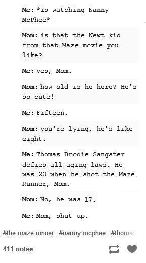 "This was my conversation with my mom when we watched Love Actually. She was in shock. She said he must have a disease or something lol! Then from there on she calls him ""that little leprechaun boy"""