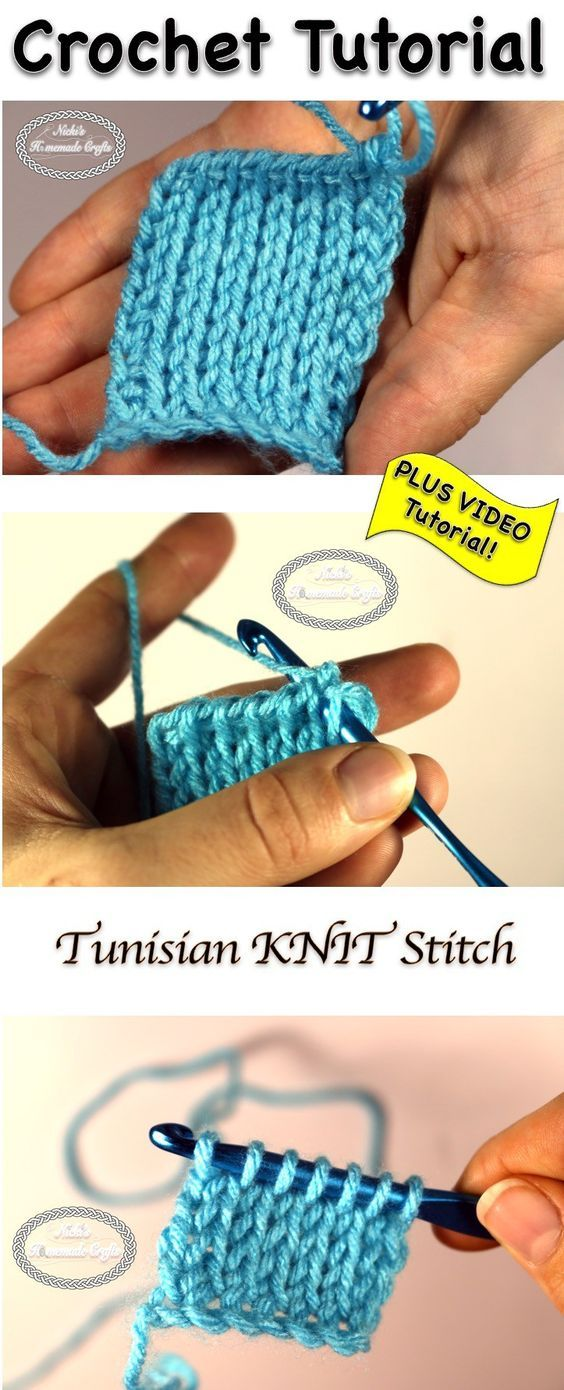 Como Crochetar o Ponto KNIT da Tunísia - Foto & Vídeo Tutorial