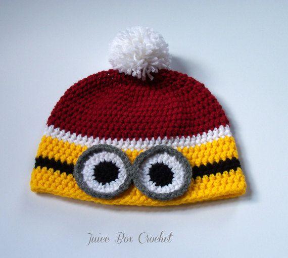 Minion Hat Kids Christmas Hat Crochet Minion di JuiceBoxCrochet