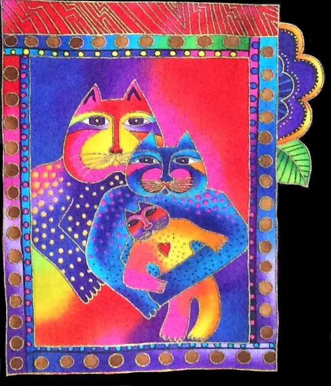 Laurel Burch fabric patch, Fanciful Felines cat family