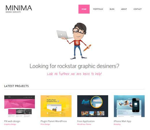 Free website template CSS HTML5 Minima Freebiesxpress Mobile Website Template