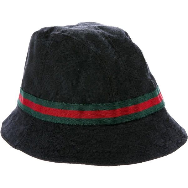 Pre-owned Gucci GG Bucket Hat ($175) ❤ liked on Polyvore featuring accessories, hats, black, fisherman hat, fishing hats, leather brim hat, gucci hat and woven hat