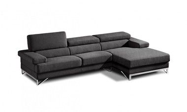Modern Stainless Steel Base Grey Fabric Sectional Sofa