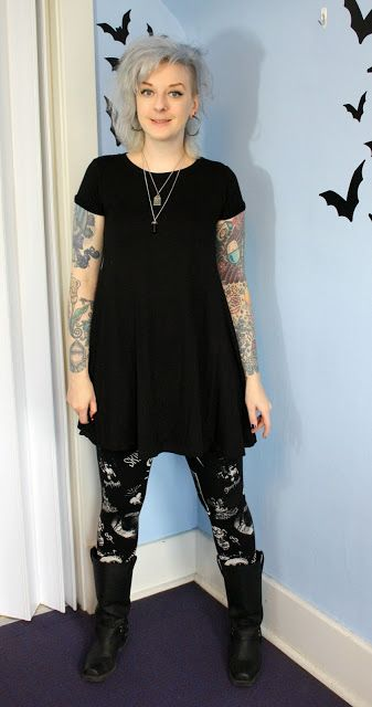 Coffin Kitsch: Leggings and Boots Make Me Happy #casual #goth #outfit #blogger…