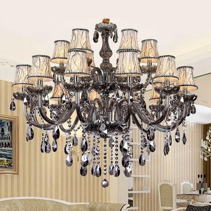 Smoky grey fashion of luxury Large crystal Chandelier light living room lights Modern Crystal Chandelier lighting