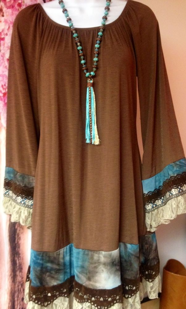 Brand New Brown Boutique Tie Dye Lace Dress By Honeyme