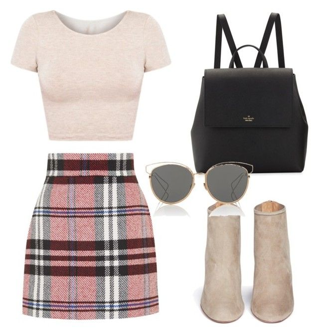 Untitled #384 by camibg on Polyvore featuring polyvore fashion style American Apparel Topshop Aquazzura Kate Spade Christian Dior clothing