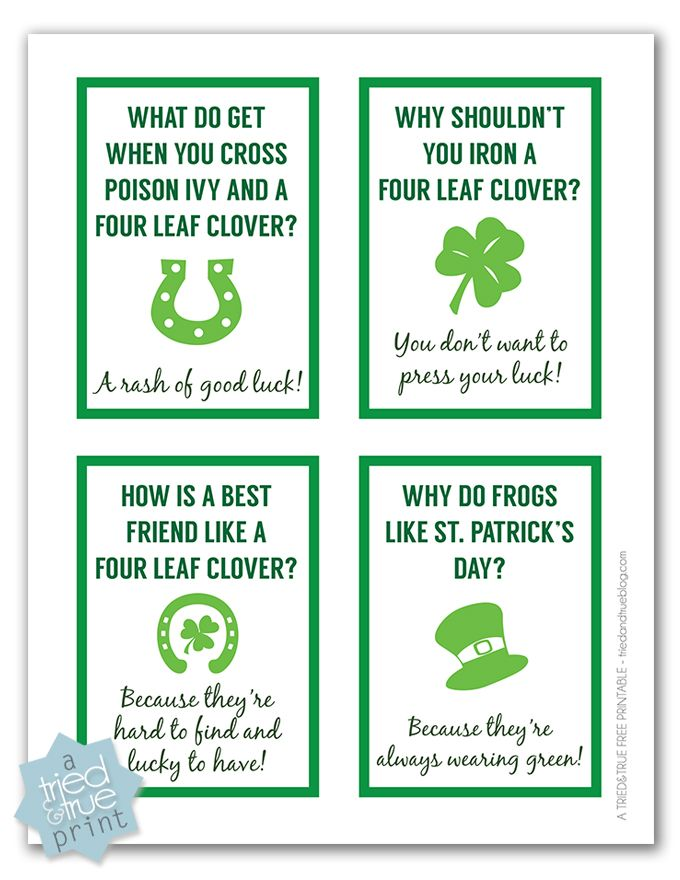 Free St. Patrick's Day printables: Fun Lunch Box Jokes by Tried and True