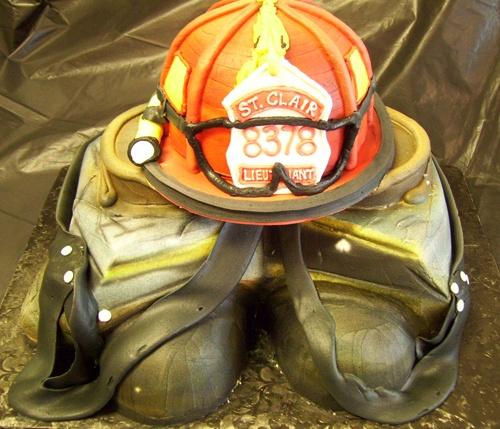 Firefighter Helmet & Gear Groom's Cake | Shared by LION