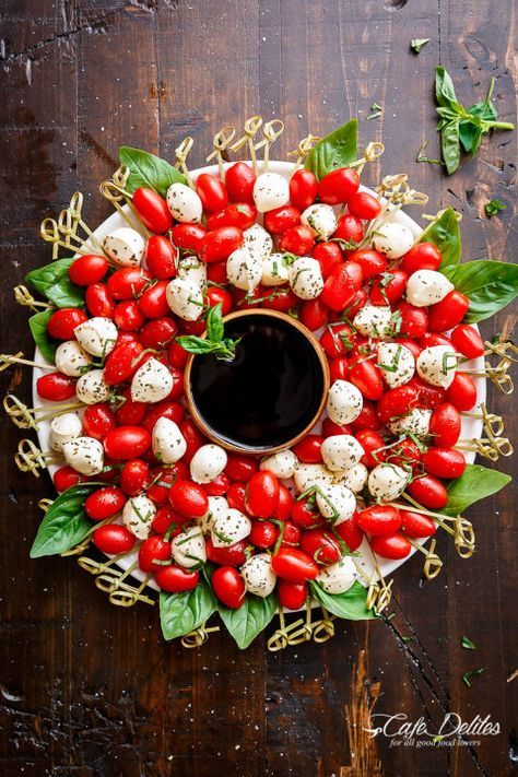 Arrange everyone's favorite saladinto a festive wreath-inspired display. Get the recipe at Cafe Delites. Tools you'll need: $5, Royal Bamboo Knot Cocktail Picks, amazon.com