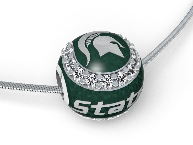From the latest collection. MSU Baseball pendant with diamonds