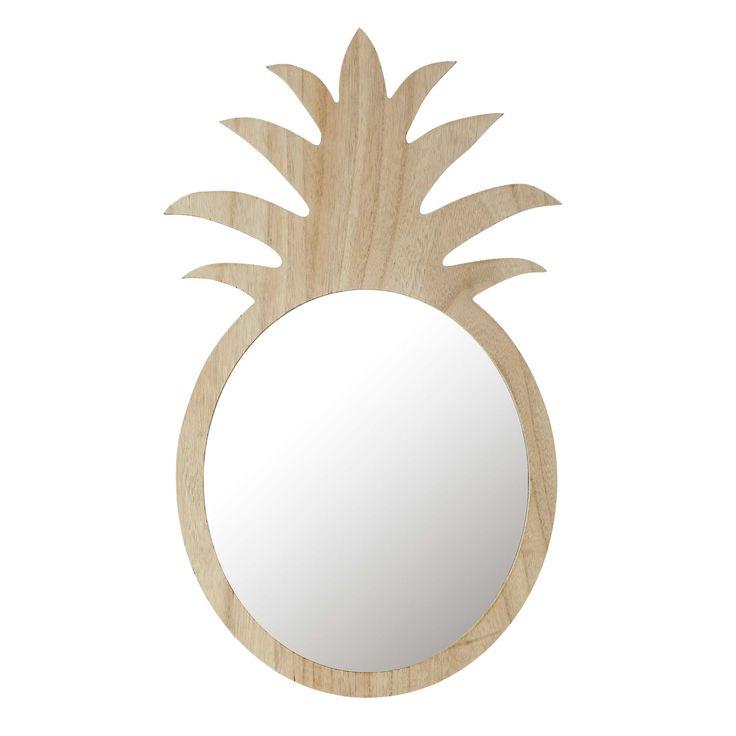 Miroir ananas en bois naturel H 65 cm ALIX | Maisons du Monde