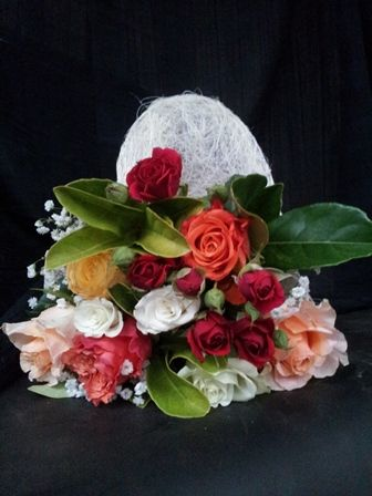 A splash of colour or all red roses in a sinnamay wrap.  www.bloomsandgifts.com.au