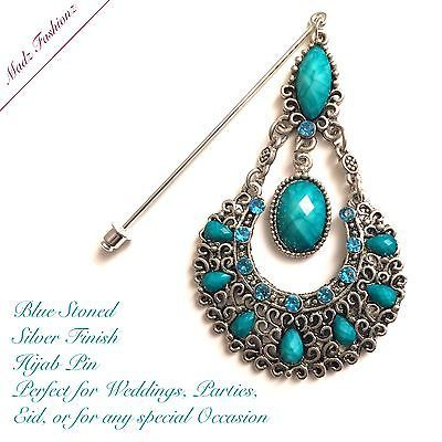 aqua blue Hijab Pin silver Modest Headwear teal Hijab Jewelry madzfashionz