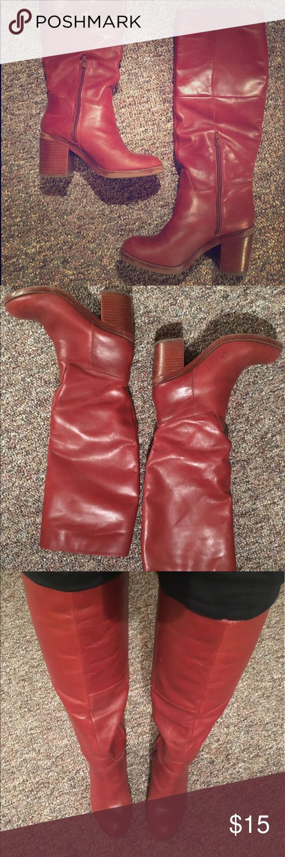 Red Aldo boots Good condition, minor scratches (could be polished out), super comfortable! Aldo Shoes Heeled Boots