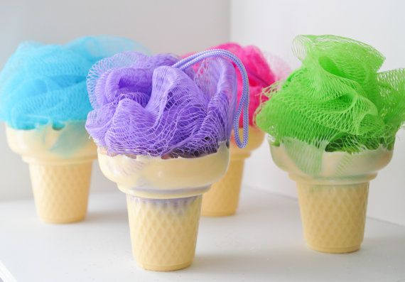 Soap on a Rope - Ice Cream Soap with shower poof puff - cute soap - Lime Sugar