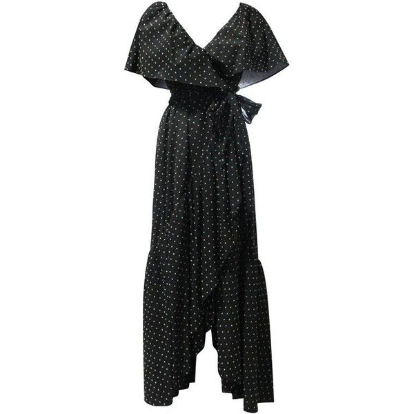 Preowned 1980s Halston Dotted Cotton Voile Wrap Gown With Ruffled... ($3,500) ❤ liked on Polyvore featuring dresses, gowns, black, evening dresses, wrap evening dress, slit gown, 80s dress, polka dot dress and halston gowns