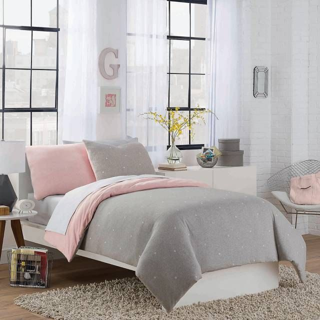 pink & grey duvet cover and pillows