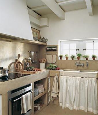 Bajo mesada de obra bacha cortinitas cocinas rusticas - Cocinas con microcemento ...