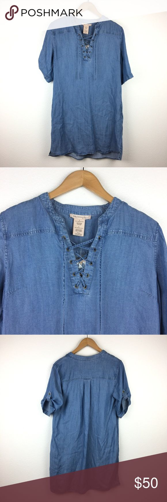 NWT Philosophy Tencel Denim Lace Up Shirt Dress Soft tencel fabric. Chambray denim. Lace up front. Short sleeve with button-tabs. Loose fit shift dress. Brand new, with tags attached. Philosophy Dresses