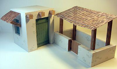 Papercraft de una casa para Belén navideño 2.