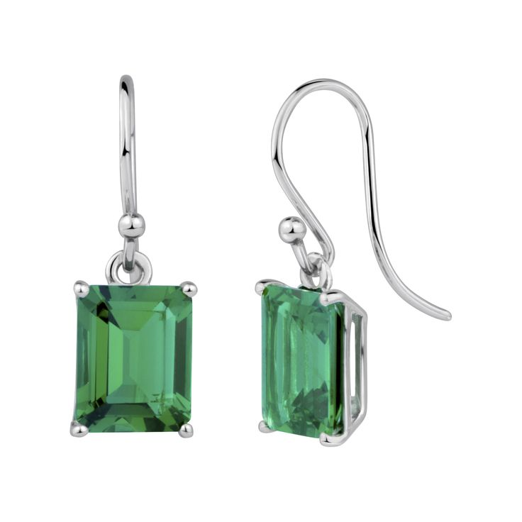 StyleRocks Onyx Emerald Cut Sterling Silver Drop Earrings ZKIurhFB8