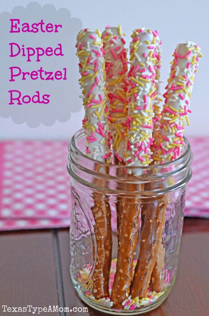 Easter Dipped Pretzel Rods... I was planning to order similar ones for my sister's baby shower.. Now I can make them myself