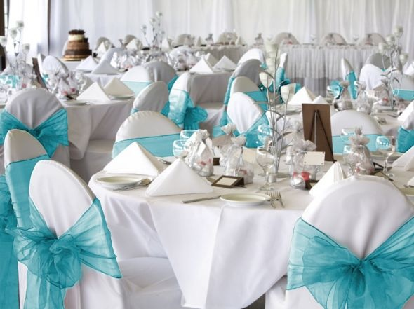 50 Baby Blue Organza Chair Cover Sash Bow Wedding Party In Home U0026 Garden,  Wedding Supplies, Decorations