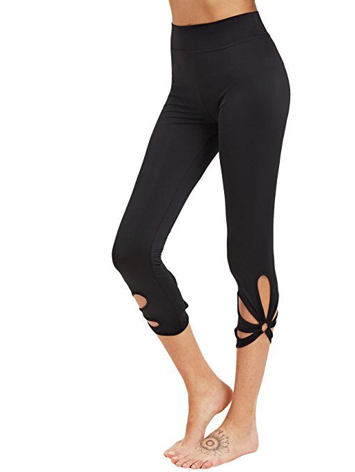 e2c1a2c2f668d6 SweatyRocks Women's High Waisted Cutout Crop Leggings Yoga Workout Active Tights  Black S