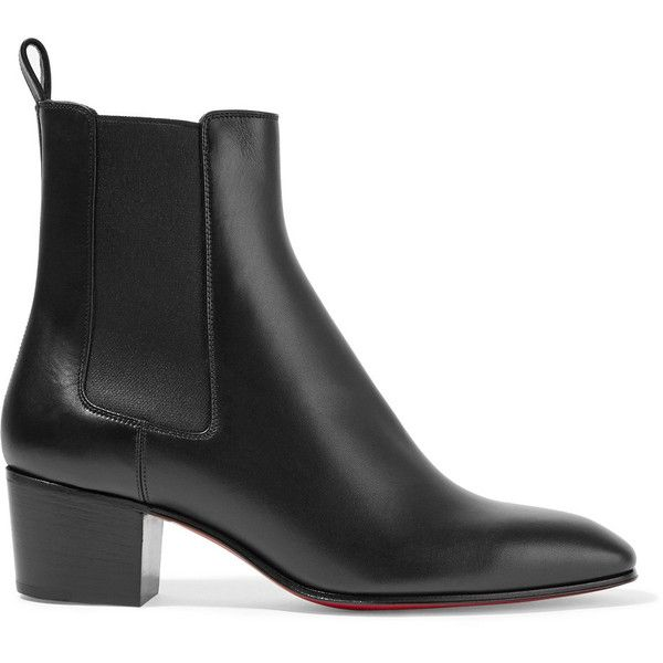 Christian Louboutin Gadessita 55 leather Chelsea boots (€790) ❤ liked on Polyvore featuring shoes, boots, ankle booties, leather chelsea ankle boots, mid heel boots, beatle boots, mid heel booties and real leather boots