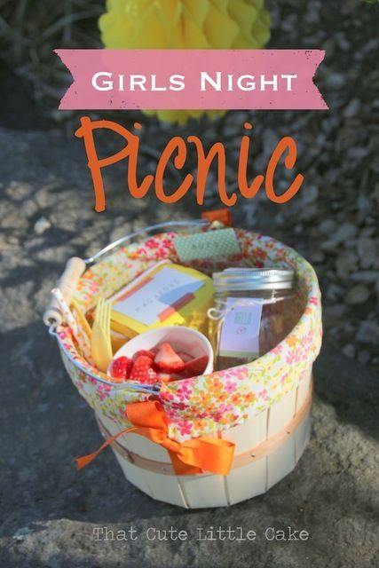 Picnic basket at a Ladies Night Party!  See more party ideas at CatchMyParty.com!