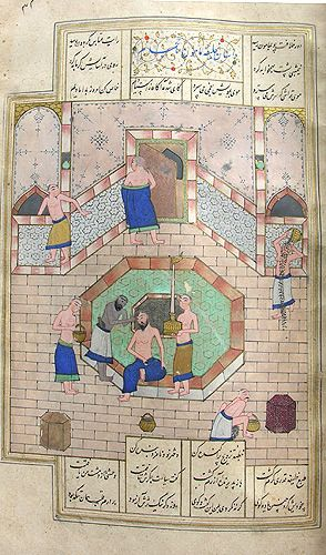 Illustration depicting Caliph Harun al-Rashid and the barber in a bath house. The detail (below) shows the barber shaving the Caliph's head.