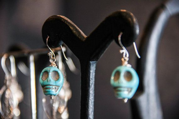 SKULL EARRING Sterling silver 925  with Turquoise by MoyokSilver $17.50 USD